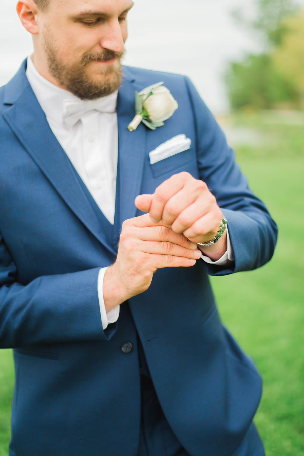 groom blue suit