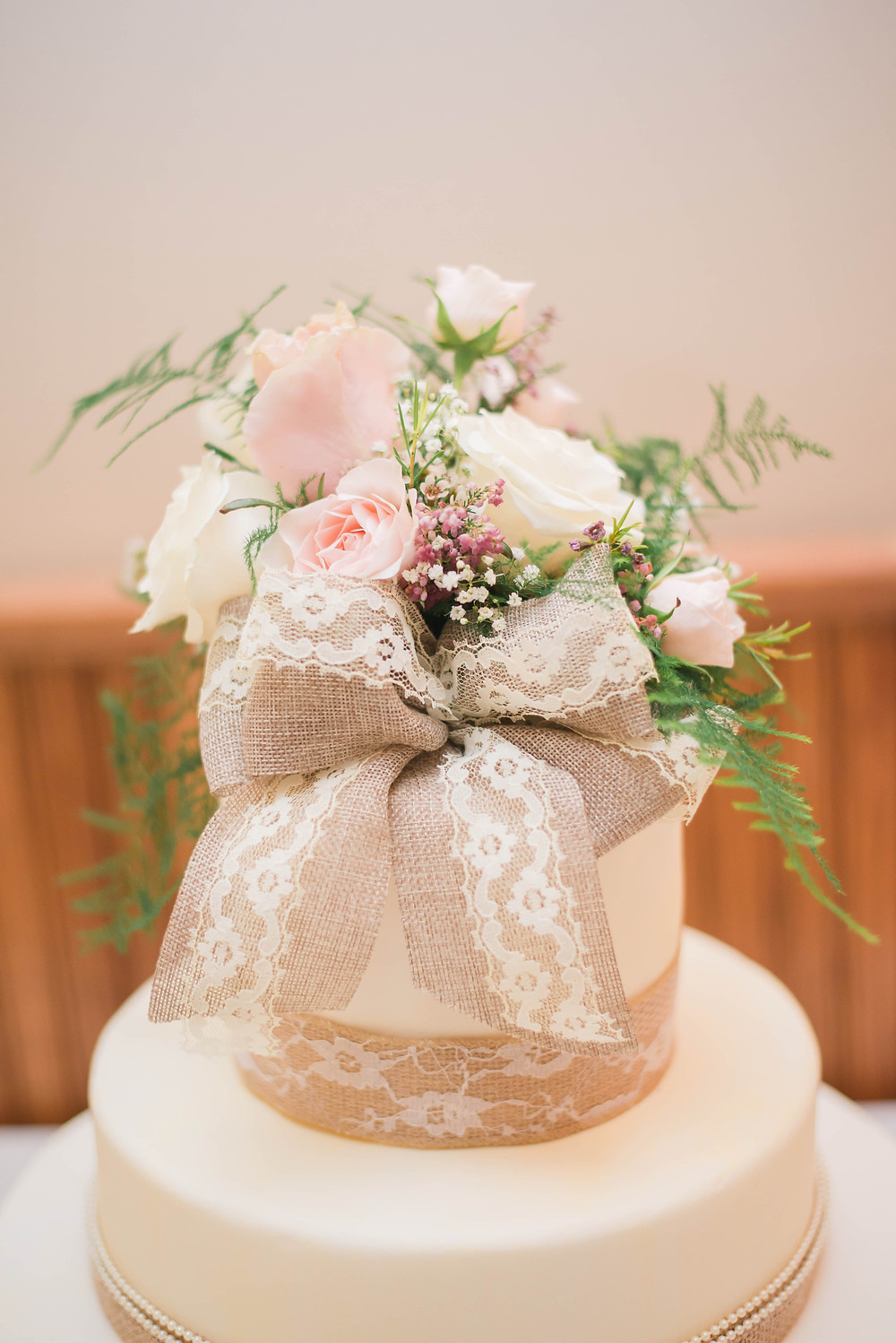 lace and burlap caketopper