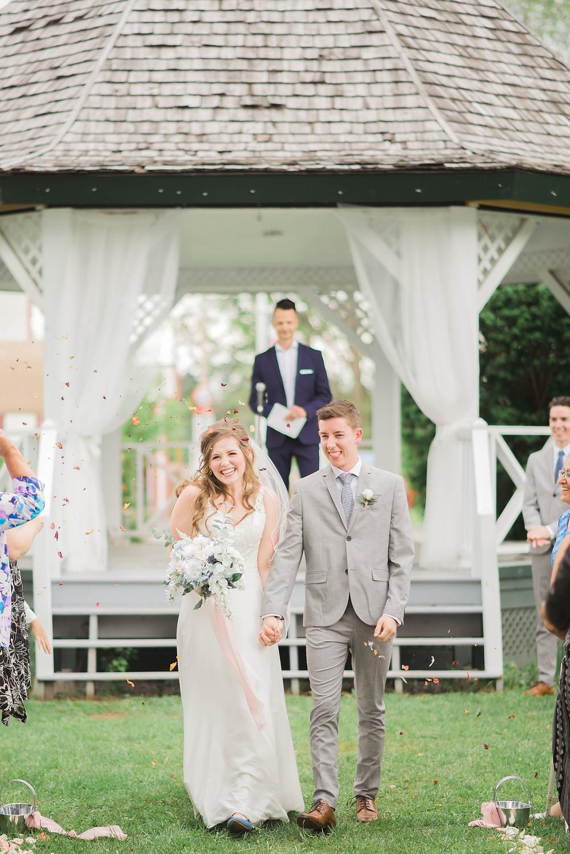 wedding exit with petals