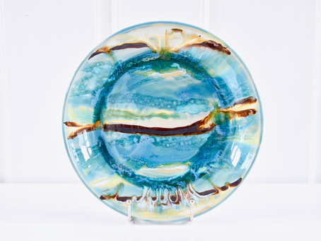 Flowing Sea Blue Dinner Plate by Maria Polky