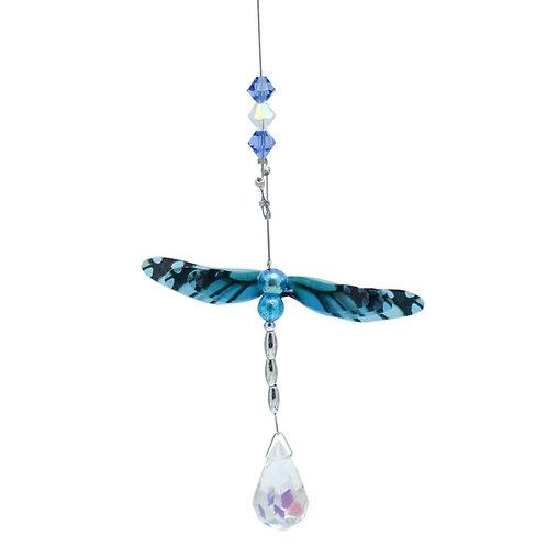 Blue Dragonfly Lead Crystal Ball