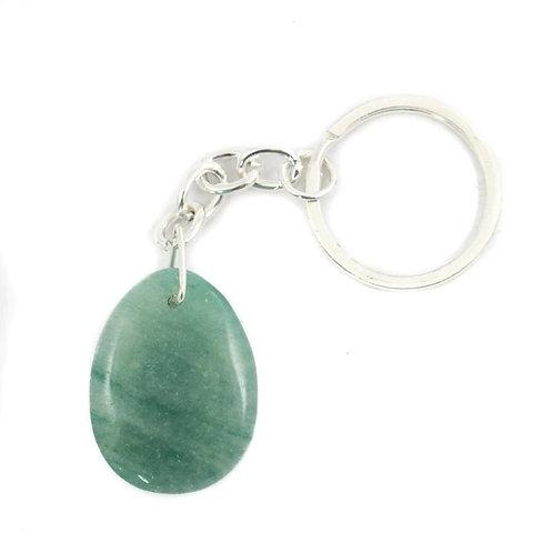 Green Aventurine Teardrop Crystal Keyring