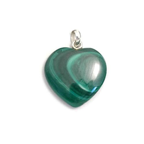 Malachite Crystal Heart Pendant