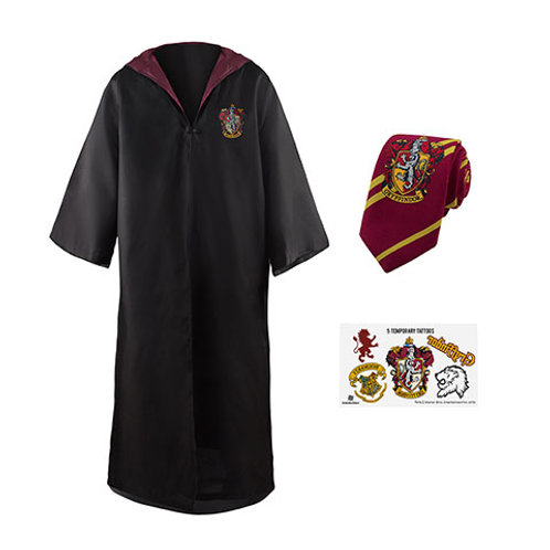 Gryffindor Costume Pack : wizard robe + necktie + 5 tattoos - Harry Potter