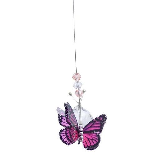 Pink Butterfly Lead Crystal Ball
