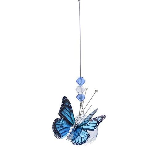 Blue Butterfly Lead Crystal Ball