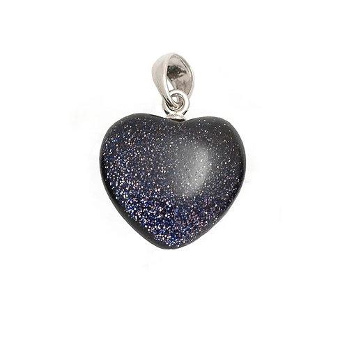 Baby Blue Goldstone Crystal Heart Pendant