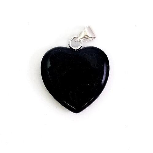 Dark blue goldstone crystal heart pendant