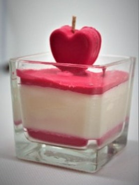 Love In a Candle Red heart 50+Hr  Burn time -Soy Wax-