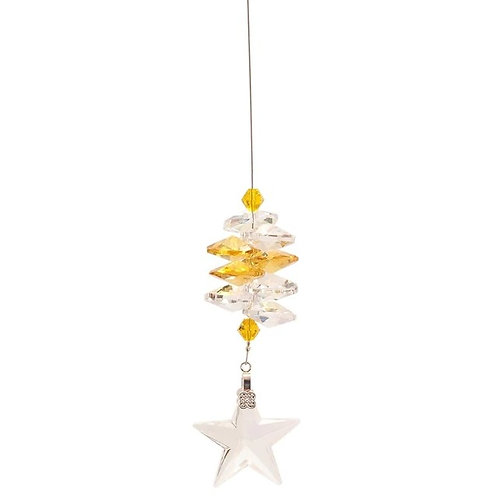 Lead Crystal Star with Yellow Cascade