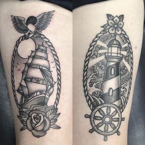 traditional thigh tattoo