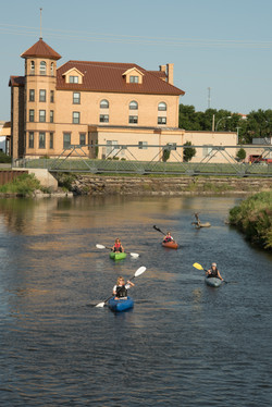 Kayaks in front of Elks Building