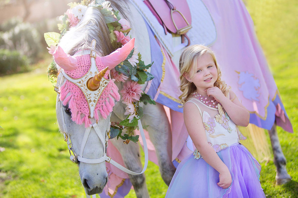 Milo the Unicorn - horse wearing unicorn costume in Los Angeles