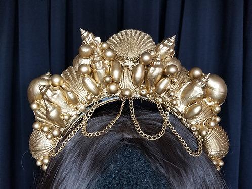 Children's Child Gold Seashell Mermaid Tiara Crown Rental - Los Angeles Costume Rental