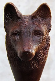 Fox head carved from Iroko wood