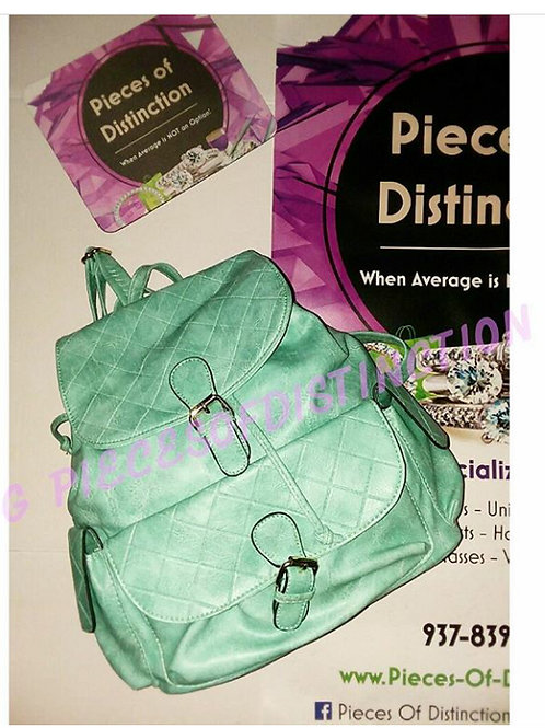 MINT GREEN QUILTED BACKPACK