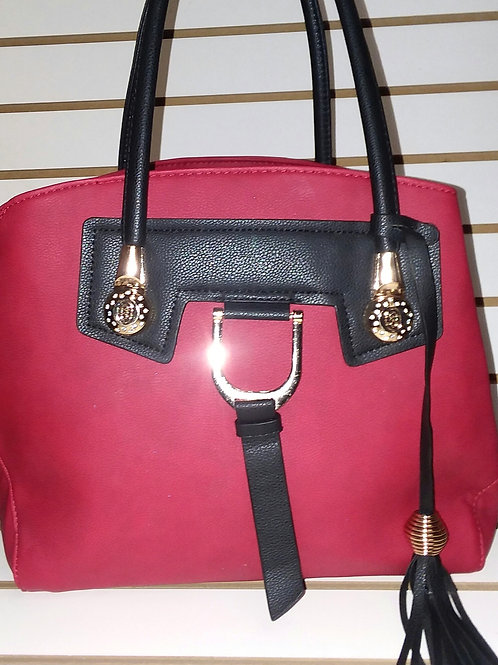 RED TOTE BAG WITH LONG TASSEL CHARM