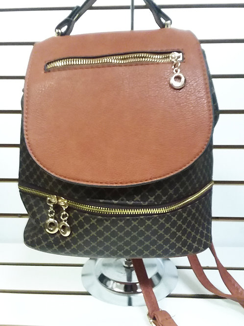 CHOCOLATE BROWN BACKPACK WITH GOLDTONE HARDWARE