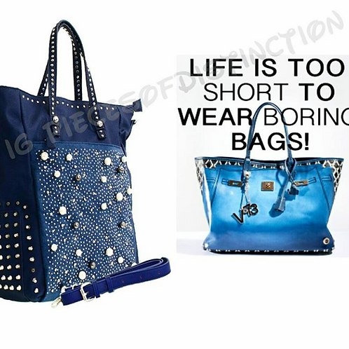 NAVY BLUE OVERSIZED BLING TOTE