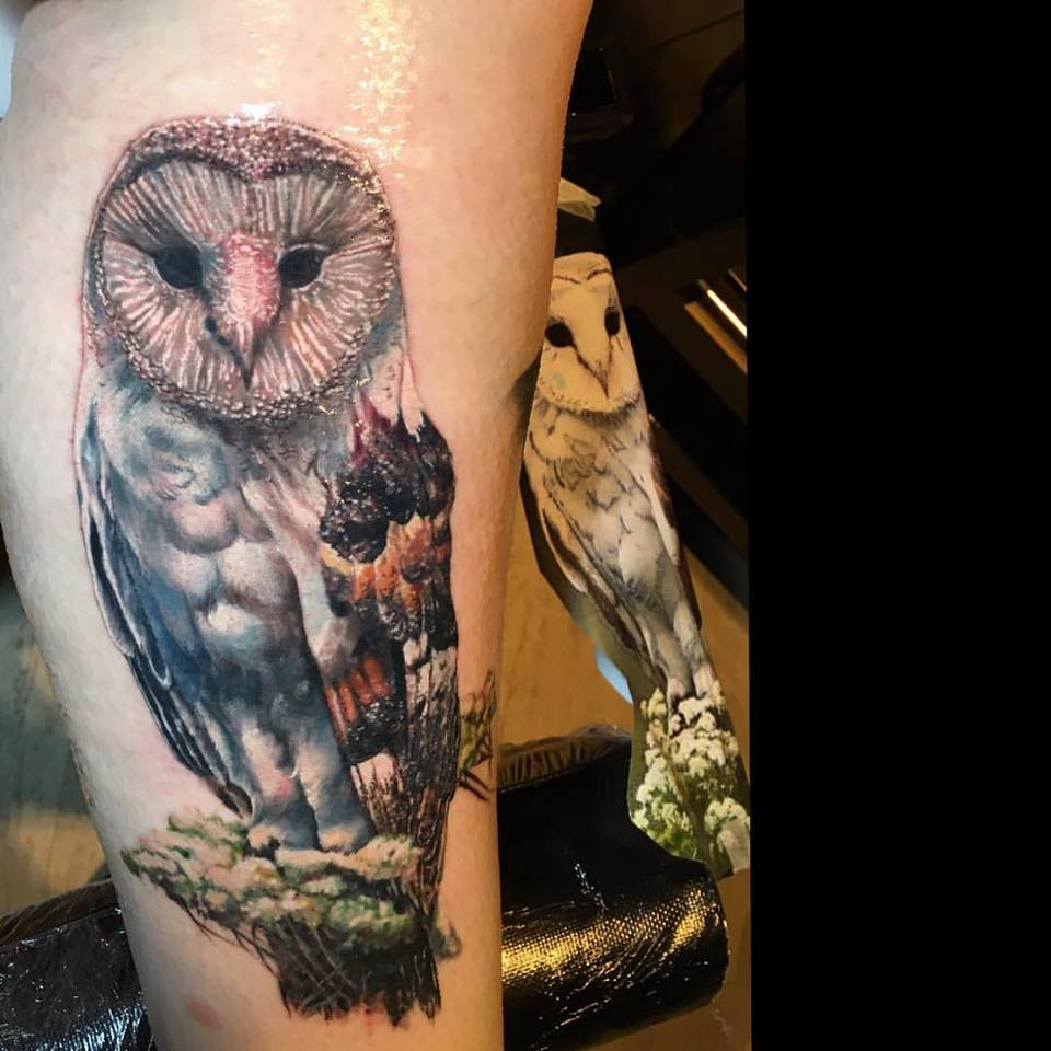 Fresh owl tattoo. Background yet to come