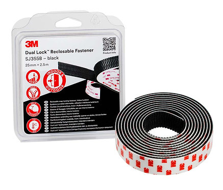 3M Dual Lock Reclosable Fastener SJ355B, Black, 25mm x 2.5m