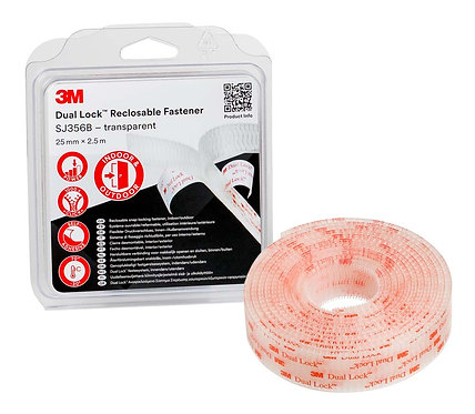 3M Dual Lock Reclosable Fastener SJ356B, 25mm x 2.5m - Clear