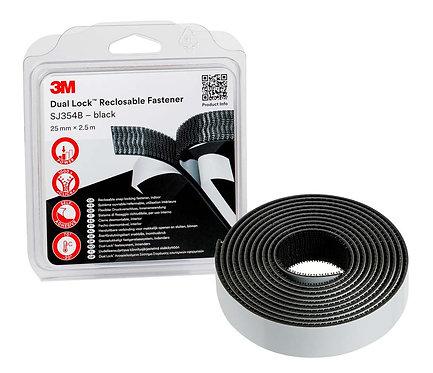 3M Dual Lock Reclosable Fastener SJ354B, Black, 25 mm x 2.5 m