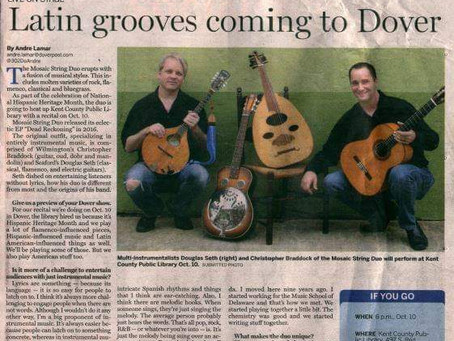 Douglas Seth performing in Dover Wednesday, October 10th 2018 and featured interview in Dover Post!