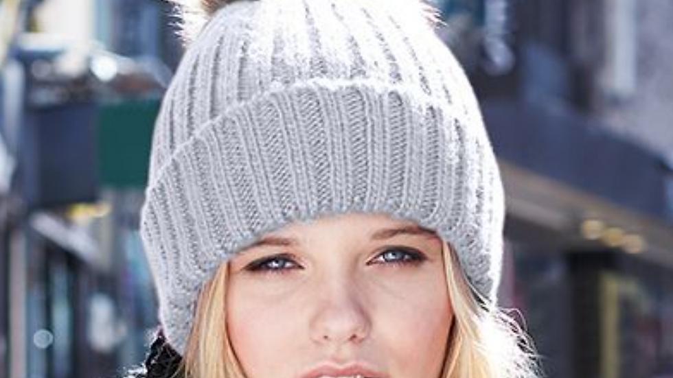 Adult Cable-Knit Faux Fur Pom Beanie