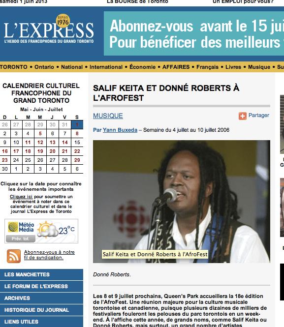 Salif Keita & Donné Roberts Afrofest