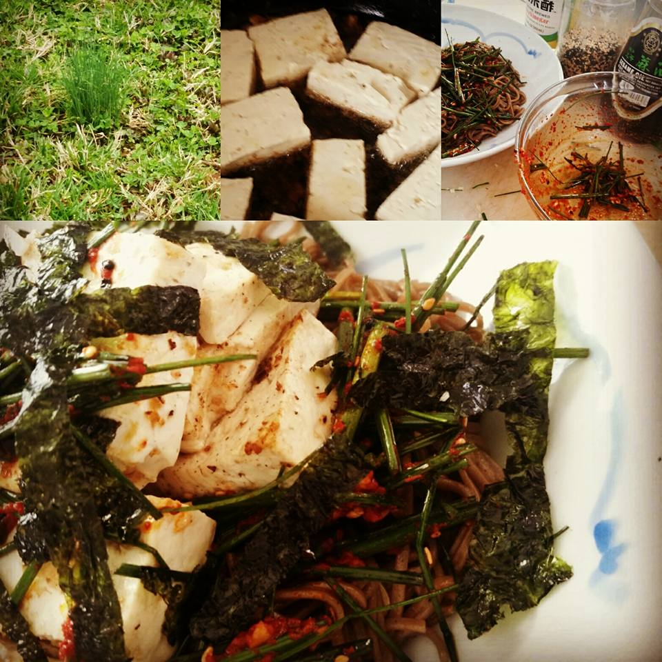 Foraged Wild Onion Salad & Tofu Soba