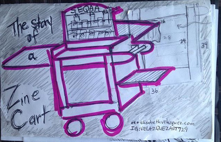 SEQAA zine cart slowly coming to life! M
