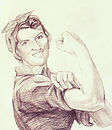 Dot the Riveter, Gallery Guy, Matthew Epperson, custom pencil portrait, add face to rosie the riveter