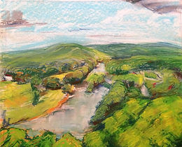 spring river, biggers bluff, matthew epperson, landscape, chalk pastel