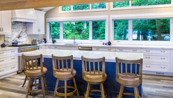 Bright kitchen island with view