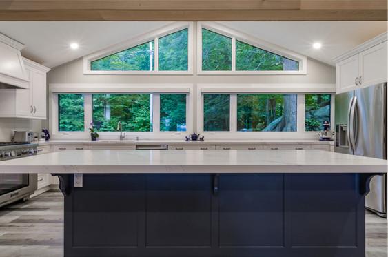 Kitchen island and window
