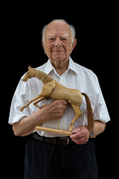 """Harry Kornhauser b. 1929 Berlin, Germany Arrival in UK: 1939  OBJECT: Decorative horse  """"When I was a kid in Germany, I used to ride horses. That love carried on here. My wife and I owned three horses — one at a time, over 30 years. Looking after the horses and bonding with them added an extra dimension to our lives."""""""