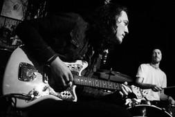 Guitarist Eddie Ogle jams with Kula Shaker drummer Paul Winter-Hart. Spiritual Bar, Camden Town, London