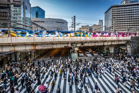 Crosswalk, JR Osaka Station, Umeda, Osaka, Japan.