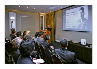 Ambassador of Japan to South Africa Yutaka Yoshizawa speaks at a Tribute to Chiune Sugihara - Righteous Among the Nations. Sugihara was Japanese consul in Kaunas, Lithuania during the war. He issued as many as 2,000 transit visas that ultimately saved an estimated 6,000 Jews.  Raedene, Johannesburg, Gauteng, South Africa.