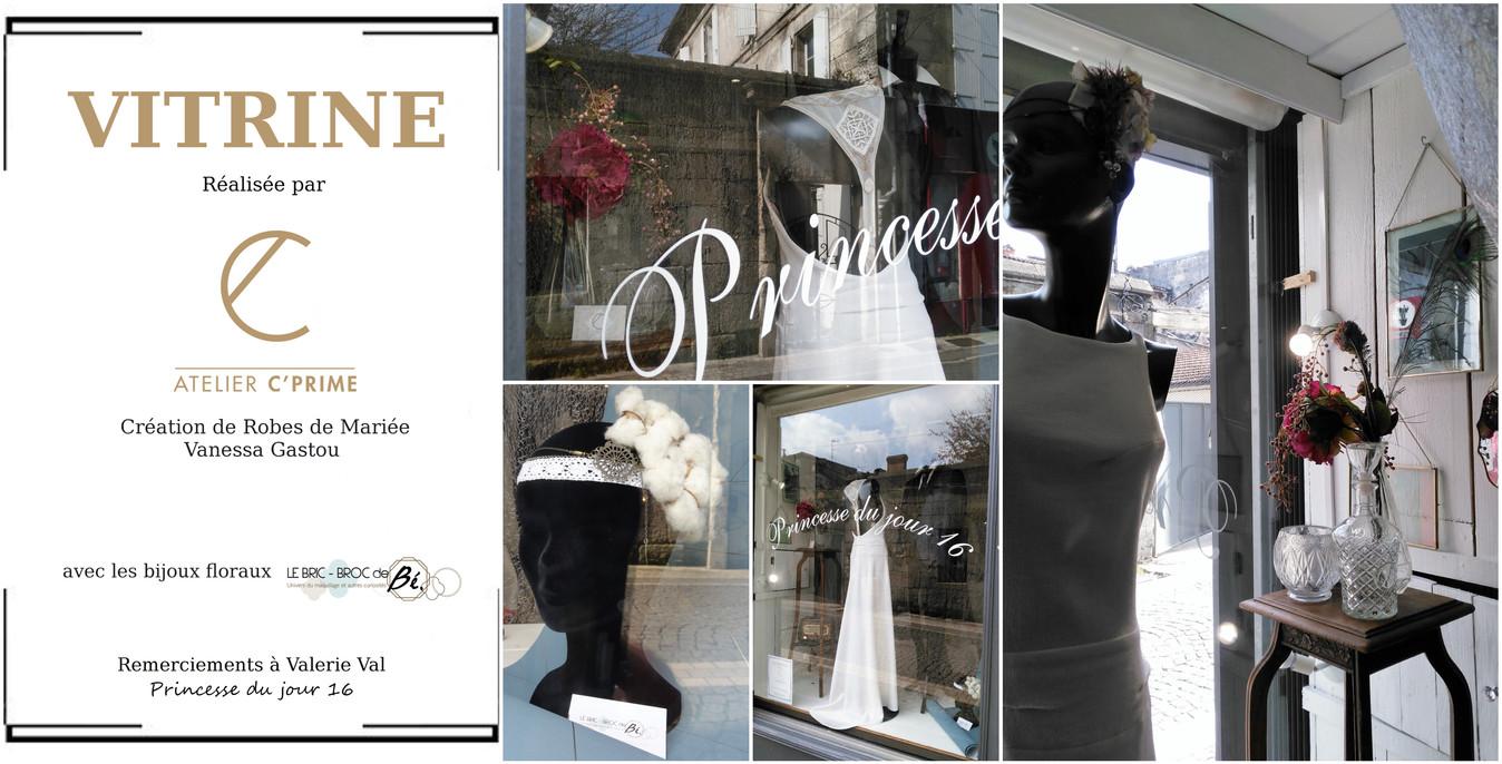 Mars 2018 - L'Atelier C'Prime s'expose chez Princesse du jour 16, rue de la Cloche Verte - Angoulême. Sincères remerciements à Valérie.