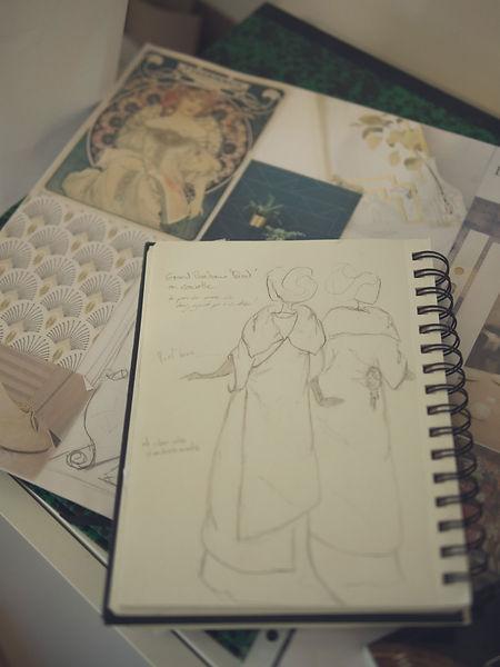 Planche d'ambiance et croquis personnalisé art déco. Créatrice française de robes de mariée