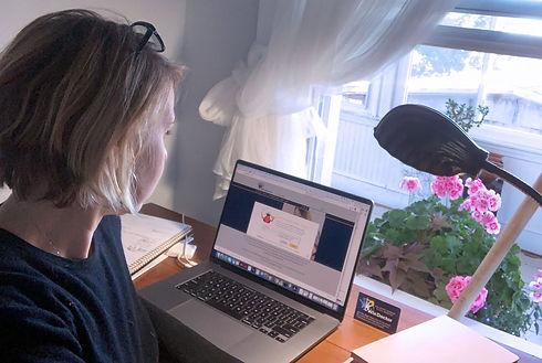 Lynn at her laptop