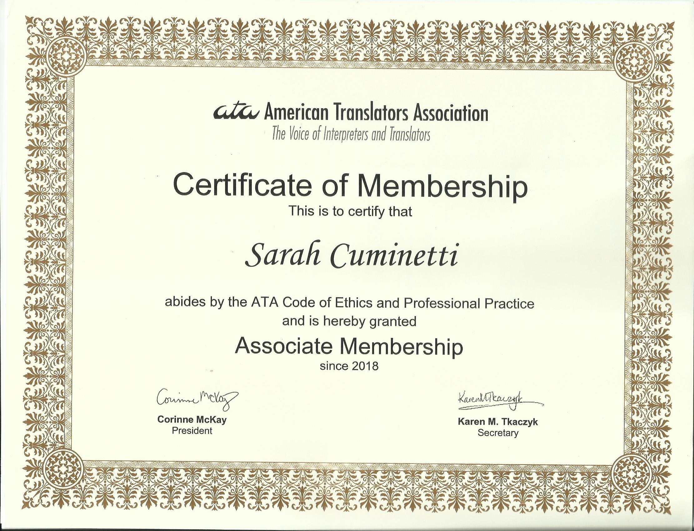 ATA Associate Membership