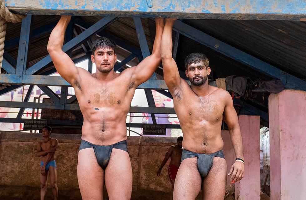 Wrestlers in an akhara, India
