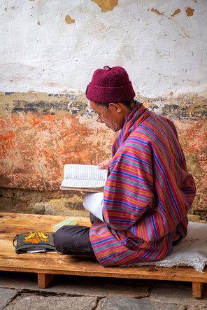 Chanting prayers, Bhutan