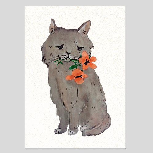 Kat met bloemen print A4