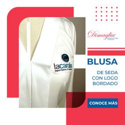 Blusa de Seda con Logo Bordado