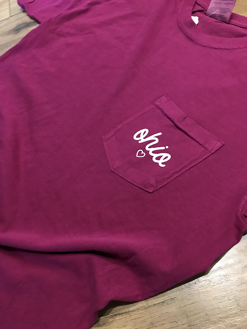 Vintage Wash Ohio Pocket Tee Berry