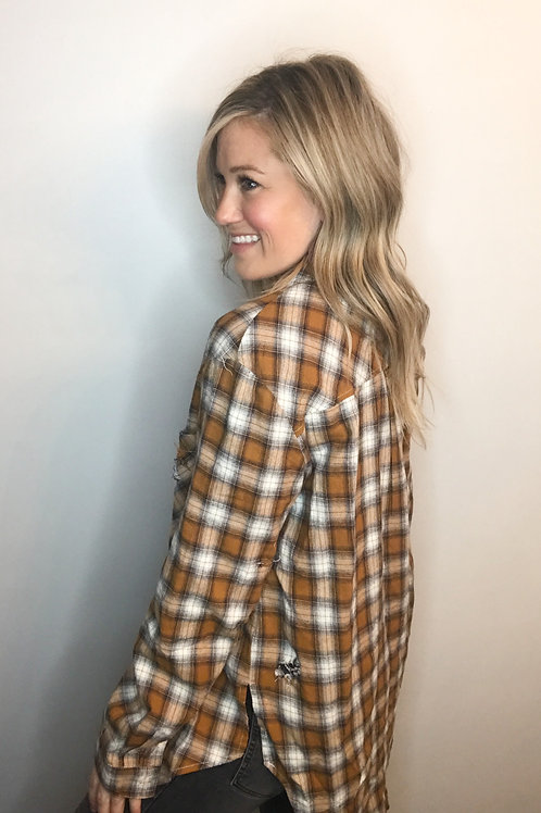 Gold distressed flannel